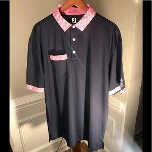 FOOTJOY Poly/Spandex Golf Shirt Blu/Pink